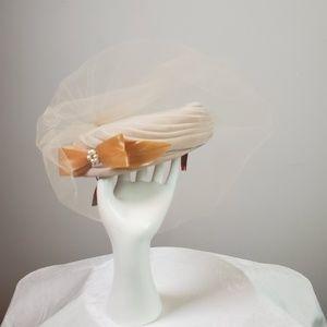 Vintage Mr. D Taupe Velvet Net Hat